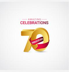 70 years anniversary amazing celebration gold vector
