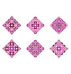 Abstract ornate floral diagonal square logo vector