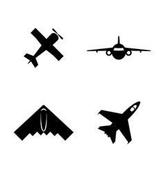 Airplanes planes simple related icons vector