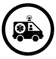 Ambulance Car Rounded Grainy Icon vector image