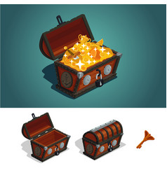 ancient treasure chest with gold game design vector image