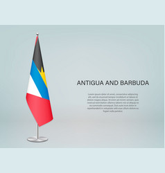 Antigua and barbuda hanging flag on stand vector