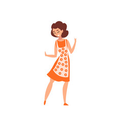 Attractive woman wearing dress and apron mother vector