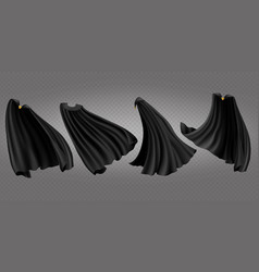 Black cloaks capes side back and front view set vector