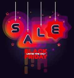 black friday sale advert on dark violet background vector image