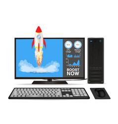 Boost speed desktop computer with toy rocket vector