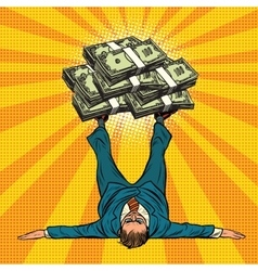 Businessman athlete holds a lot of money on legs vector image