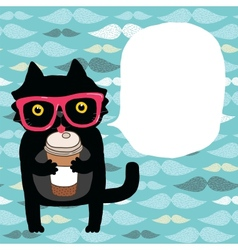 Cartoon doodle cat in hipster glasses with coffee vector