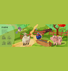 cartoon farm colorful template vector image