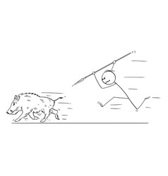 cartoon of man hunting wild boar with spear vector image