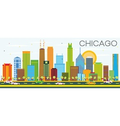 Chicago Skyline with Color Buildings vector