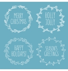 Christmas related hand drawn floral wreaths set vector image