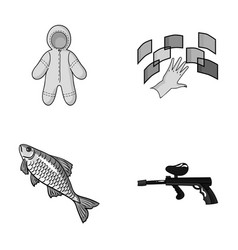 Clothing fishing and other monochrome icon in vector