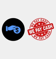 coin payment hand icon and grunge we pay vector image