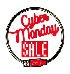 Color vintage cyber monday emblem vector