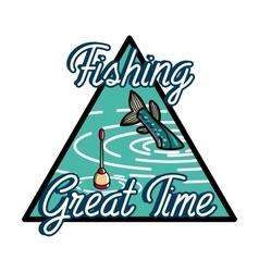Color vintage fishing emblem vector