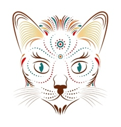 Colorful abstract cat head vector