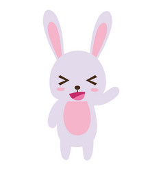 Colorful cute and cheerful rabbit wild animal vector