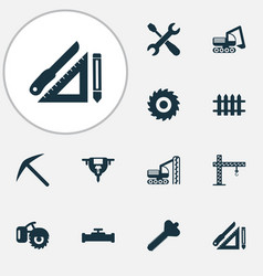 Construction icons set with fence crane milling vector
