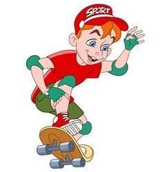 cute cartoon boy on a skateboard vector image