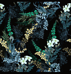 Dark trendy seamless pattern of wild flowers vector