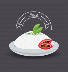 Delicious rice dish menu restaurant vector