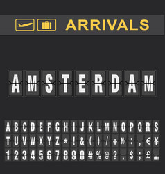 Departure and arrival sign at amsterdam airport vector