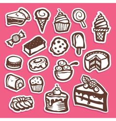 Dessert and Baking Sticker Icons vector