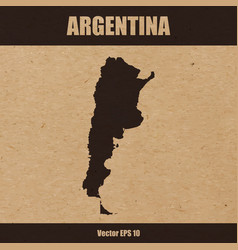 detailed map of argentina on craft paper vector image