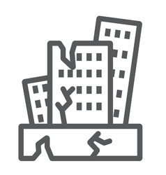 Earthquake line icon disaster and damage house vector
