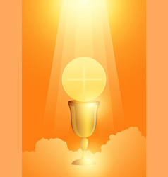 eucharist symbol with golden chalice and host vector image