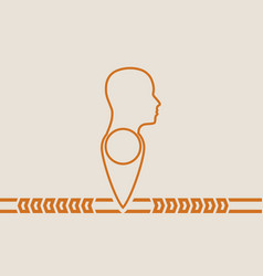 Face silhouette in profile on map pin vector