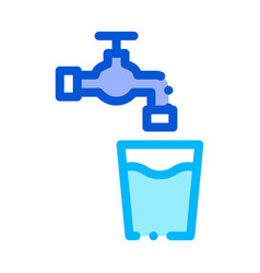 faucet with water glass sign thin line icon vector image
