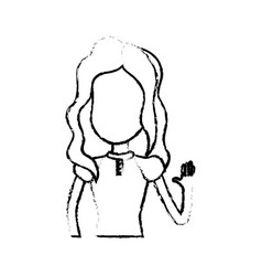 figure pretty girl with hand up and nice dress vector image