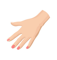 flat icon of woman s hand with bright pink vector image