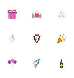 Flat icons fizz sparkler bridegroom dress and vector