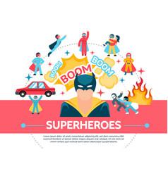 flat superheroes concept vector image