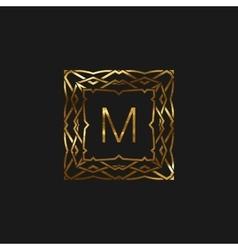 Floral monogram frame vector