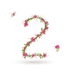 Floral number two for your design vector image