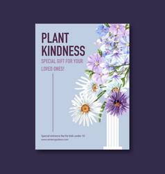 Flower garden poster design with purple mallow vector