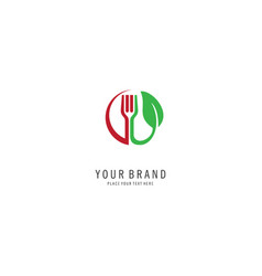 fork and leaf vegan logo vector image