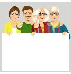 four happy joyful friends displaying white placard vector image