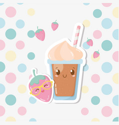 Fresh strawberry sorbet with straw kawaii vector
