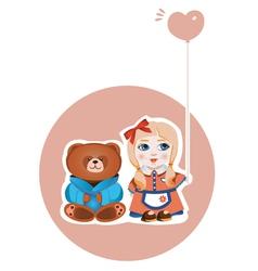 girl and bear vector image