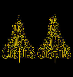 gold christmas trees golden letters vector image