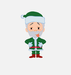 Green santa claus in waiting attitude with funny vector
