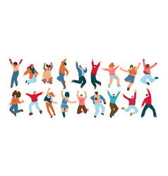 group happy people jumping on a white vector image