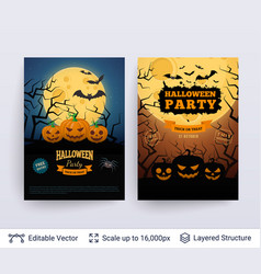 halloween party posters set vector image vector image