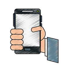 Hand cellphone vector