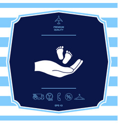 Hands holding baby foot graphic elements for your vector